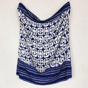 Trina Turk Tube Top Silk Blue & White Chain Small